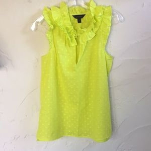 J Crew 100% Cotton Chartreuse Double-ruffled Top!!